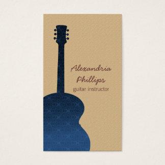 青いダマスク織のギターの音楽業界カード 名刺