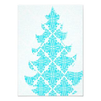 青いダマスク織のクリスマスツリー カード