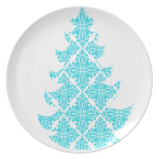 青いダマスク織のクリスマスツリー プレート