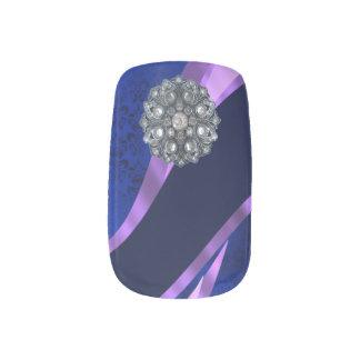 青いダマスク織のラインストーンパターン ネイルアート