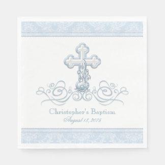青いダマスク織の十字の洗礼の聖餐のナプキン スタンダードランチョンナプキン