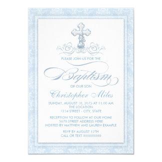 青いダマスク織の十字の洗礼 カード
