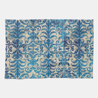 青いダマスク織の台所タオル キッチンタオル