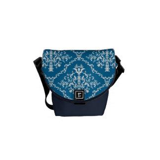 青いダマスク織の白 メッセンジャーバッグ