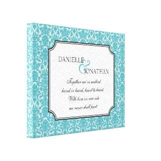 青いダマスク織の結婚式の引用文の名前入りなキャンバスの芸術 キャンバスプリント