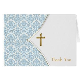 青いダマスク織の《キリスト教》洗礼式や命名式は感謝していしています ノートカード