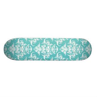 青いダマスク織パターンヴィンテージのガーリーでシックなシャンデリア スケートボード