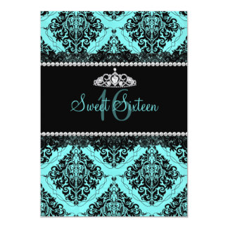 青いダマスク織及びティアラのSweet sixteenの招待 12.7 X 17.8 インビテーションカード