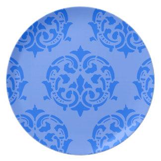 青いダマスク織 プレート