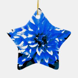 青いダリア 陶器製星型オーナメント