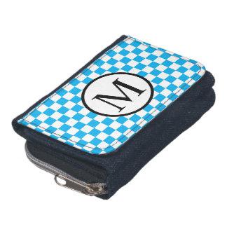 青いチェッカーボードが付いているシンプルなモノグラム ウォレット