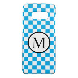青いチェッカーボードが付いているシンプルなモノグラム Case-Mate SAMSUNG GALAXY S8ケース