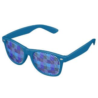 青いチェッカーボードパターン レトロサングラス