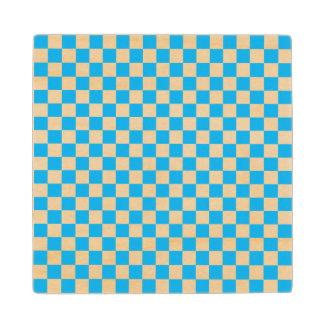 青いチェッカーボード ウッドコースター