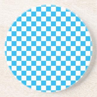 青いチェッカーボード コースター