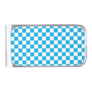 青いチェッカーボード シルバー マネークリップ