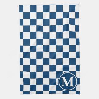 青いチェック模様のモノグラム キッチンタオル