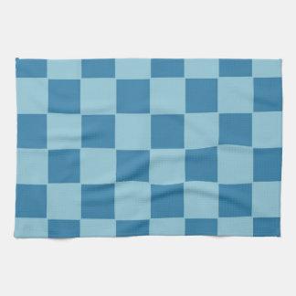 青いチェック模様の台所タオル キッチンタオル