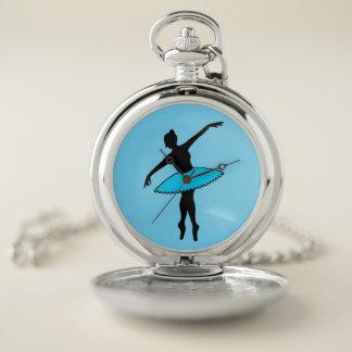 青いチュチュのバレリーナのバレエダンサーのダンスの先生 ポケットウォッチ