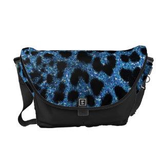 青いチータのグリッター メッセンジャーバッグ