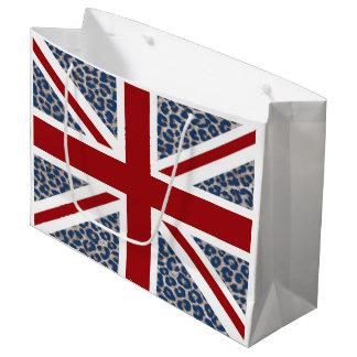 青いチータのプリントが付いている英国国旗のイギリスの旗 ラージペーパーバッグ