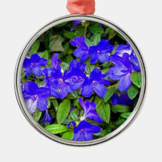 青いツツジの花 メタルオーナメント