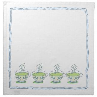 青いティーカップのティーセットのナプキン ナプキンクロス