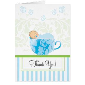 青いティーカップのベビーシャワーのサンキューカード カード