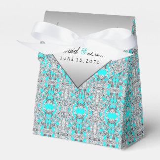 青いティール(緑がかった色)および銀製結婚式 フェイバーボックス
