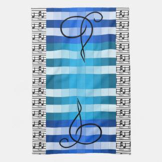 青いデザイナー音楽的な音楽ミュージシャンの台所ギフト キッチンタオル