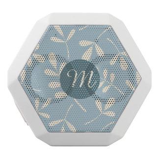 青いデザインのAsstdのクリームの葉(名前入りな) ホワイトBluetoothスピーカー