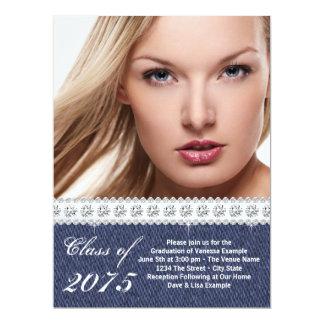 青いデニムおよびダイヤモンドの卒業の発表 カード