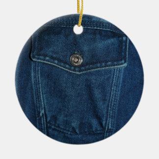 青いデニムのポケット セラミックオーナメント