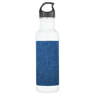 青いデニムの生地の織り目加工の背景 ウォーターボトル