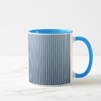 青いデニムの細い縦縞 マグカップ