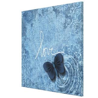 青いデニムの蝶愛 キャンバスプリント