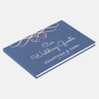 青いデニムエレガントな結婚式のローズクォーツ ゲストブック