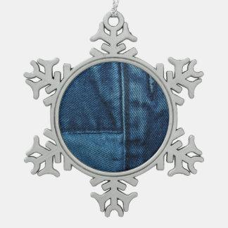 青いデニム スノーフレークピューターオーナメント