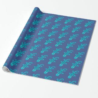 青いトカゲのヤモリの切り貼り芸術のイラストレーション ラッピングペーパー