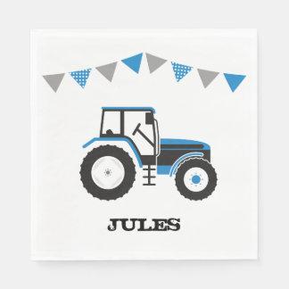 青いトラクターの誕生会の紙ナプキン スタンダードランチョンナプキン