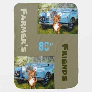 青いトラック及び犬-ベビーブランケット ベビー ブランケット