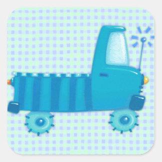 青いトラック スクエアシール
