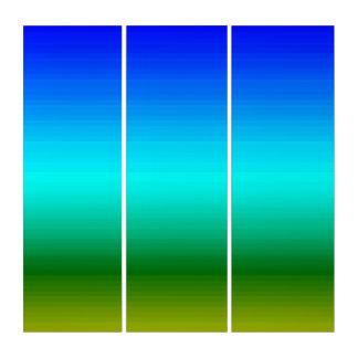青いトリプティクの壁の芸術を緑化する色のスペクトル トリプティカ