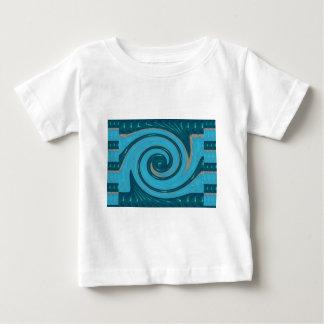 青いトルネード波の回転の写実的なギフトの挨拶FU ベビーTシャツ