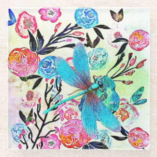 青いトンボとのかわいらしく抽象的な花柄 ガラスコースター