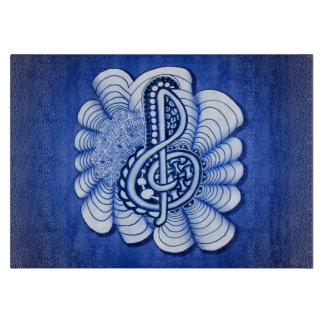 青いト音記号音楽デザイン カッティングボード