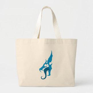 青いドラゴンのロゴ ラージトートバッグ