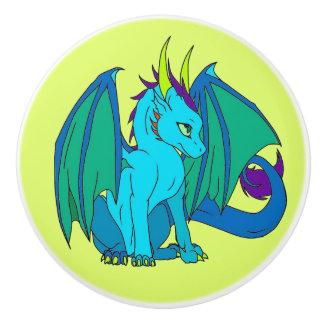 青いドラゴンの子供のドレッサーのノブの引き セラミックノブ