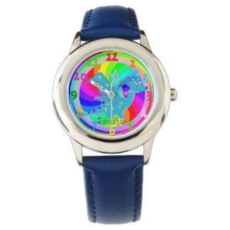 青いドラゴンの子供はカスタムな男の子の名前ジョナサンを見ます 腕時計