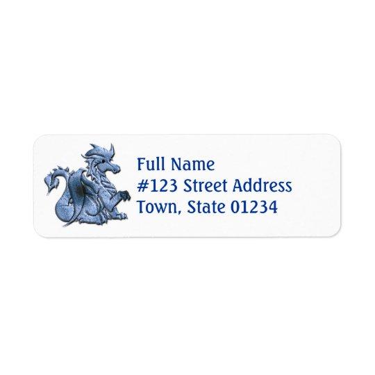 青いドラゴンの差出人住所ラベル 返信用宛名ラベル